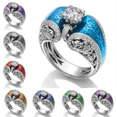 Huitan Wholesale Lots&Bulk Vintage Cocktail Party Finger Rings For Women Seven Color Available Hollow Engraved Flower Rings