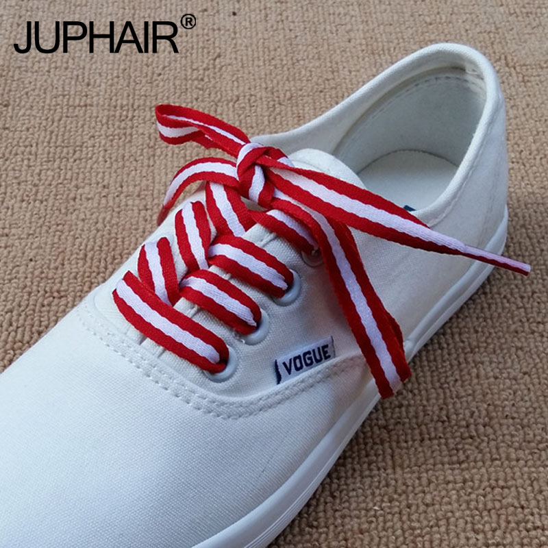 8 Pairs Canvas Shoes Color Decorating Pattern Colorful Shoelaces Flat Laces Shoelaces Laces Red White Blue Polyester Stripe Lace blue and white stripe pattern shirt in fashion design