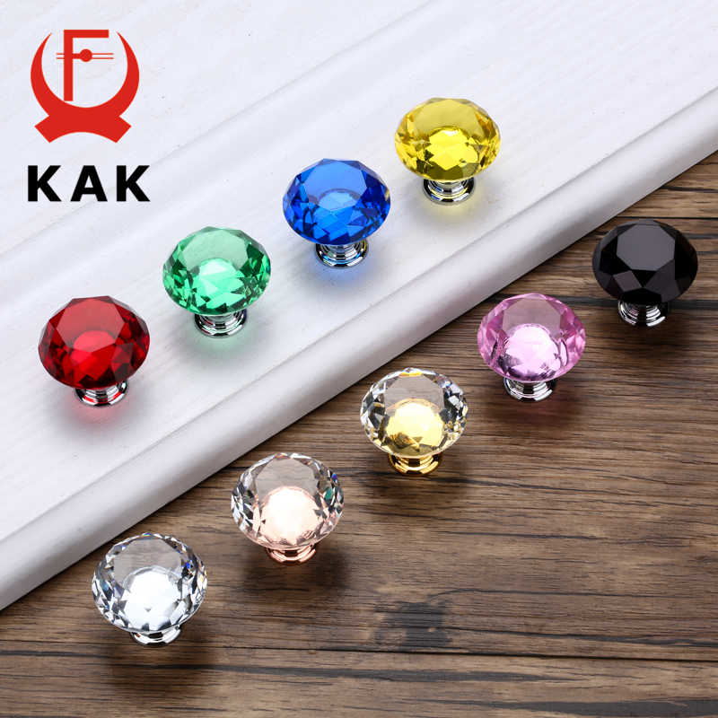 KAK 30mm Diamond Shape Design Crystal Glass Knobs Cupboard Pulls Drawer Knobs Kitchen Cabinet Handles Furniture Handle Hardware