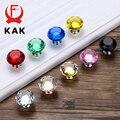KAK 30 мм Алмазная форма дизайн хрустальные стеклянные ручки шкаф ручки для выдвижных ящиков кухонный шкаф ручки оборудование для обработки м...