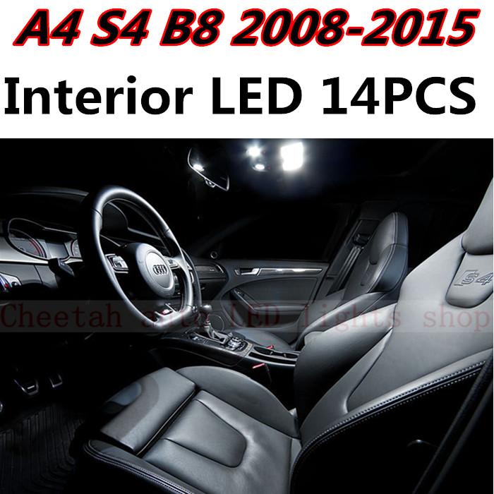14pcs X free shipping Error Free LED Interior Light Kit Package for AUDI A4 B8 S4 accessories 2008-2015 2pcs 12v 31mm 36mm 39mm 41mm canbus led auto festoon light error free interior doom lamp car styling for volvo bmw audi benz