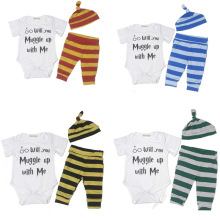 Baby Boys Suit 3PCS Will You Muggle With Me Short Sleeve Bodysuit and Striped Pants Outfit with Hat Prince Baby Dressing Up