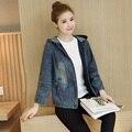 Spring 2017 Women Jean Jacket Loose Solid Hooded Denim Jackets Fashion Pocket Design Cotton Coat Female