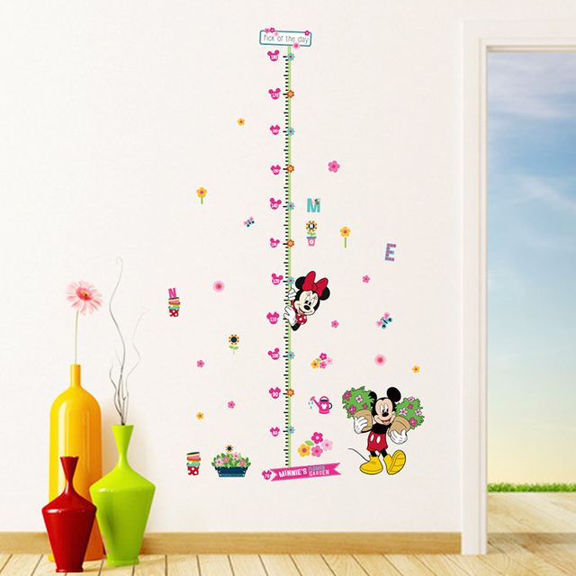 Minnie Mickey Growth Chart Wall Stickers For Kids Rooms Decorations Cartoon Mural Art Home Decals Children Gifts Height Measure