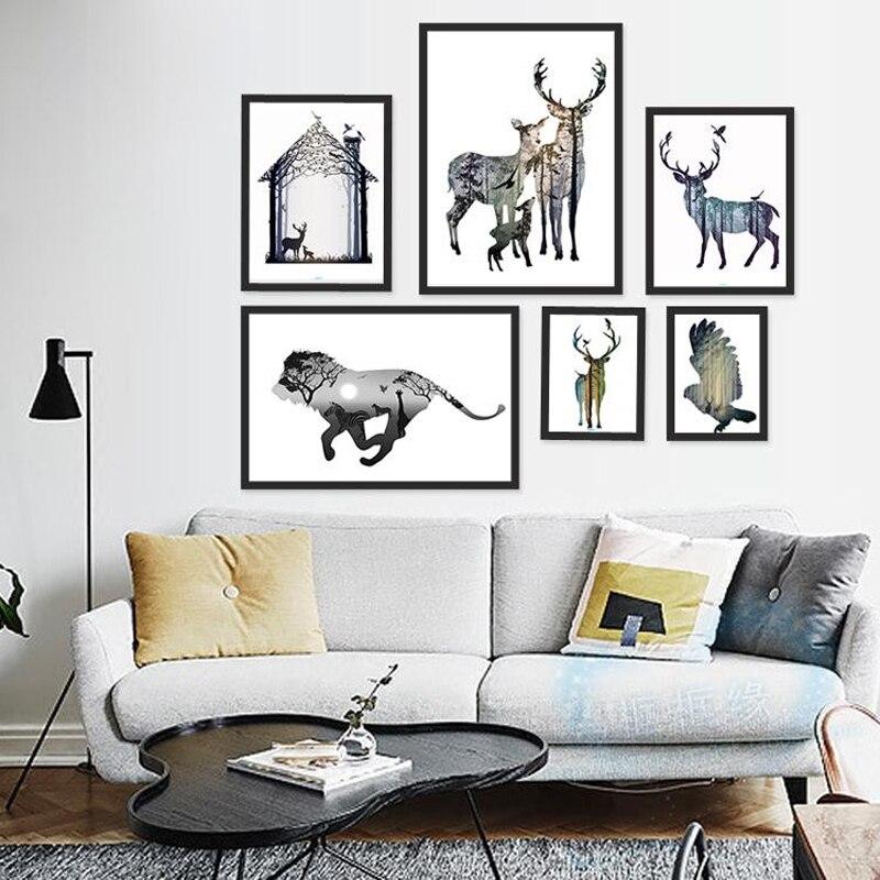 소나무 숲 캔버스 아트 인쇄 포스터, 홈 장식, 홈 장식 벽 그림 사슴 가족의 북유럽 실루엣