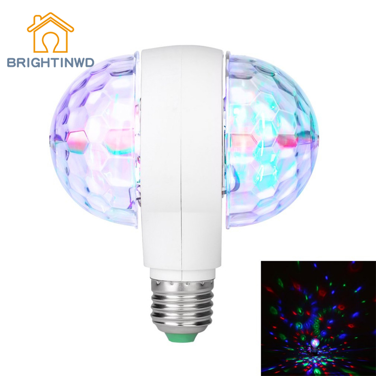 Rotating Double-headed LED Stage Light Colorful Light Bulb LED 6W Rotating Bulb Light with Dual Head Magic Stage Disco Lamp