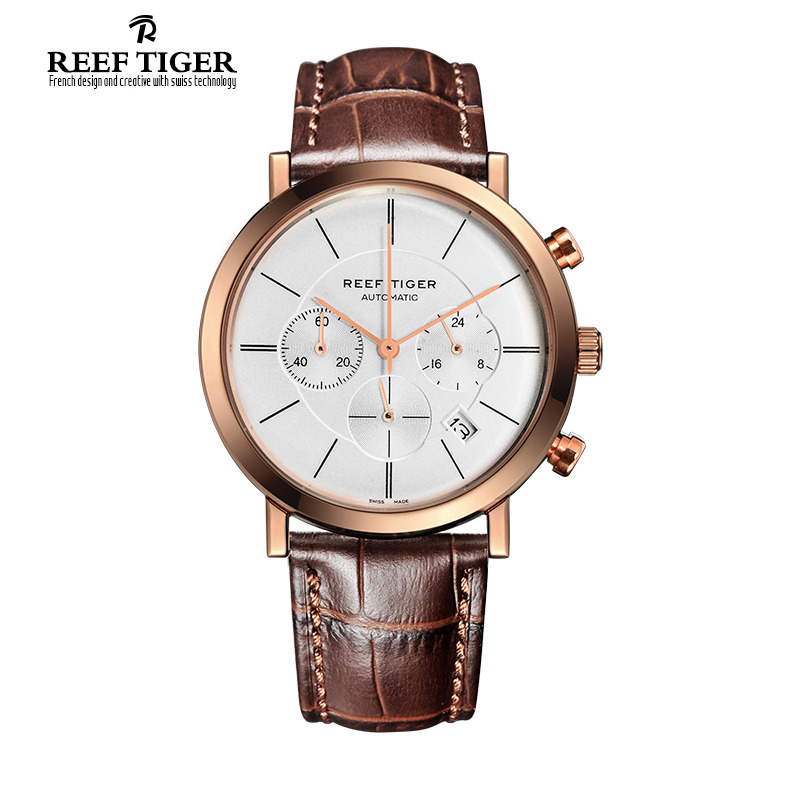 Brand Reef Tiger Ultra Thin Business Watches Men Quartz Chronograph Date Rose Gold Leather Strap Waterproof Watch Reloj Hombre все цены