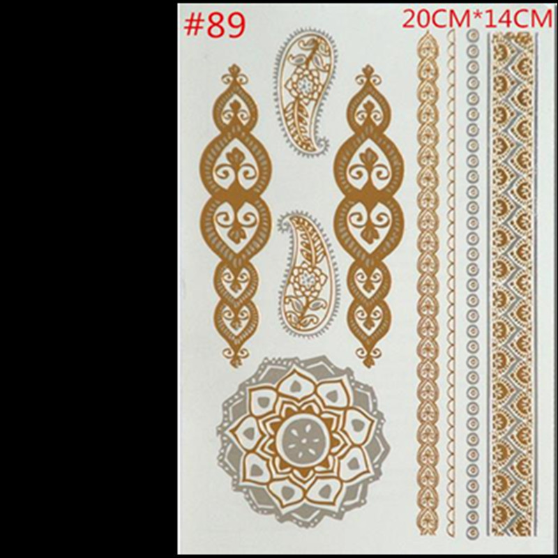 Free shipping fashion products tattoo stickers metallic for Gold foil tattoo