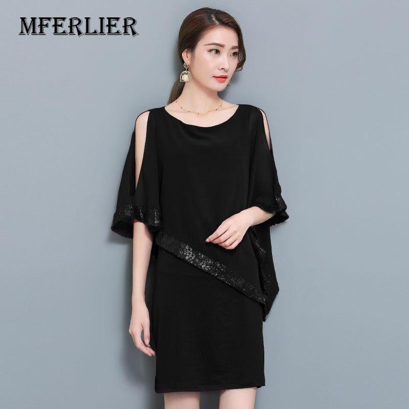 Women Summer Chiffon Dress Plus Size Fashion Sequin Batwing Sleeve