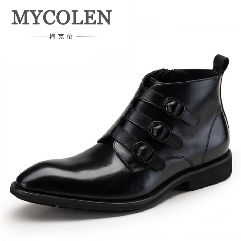 MYCOLEN Handmade Winter Buckle Chelsea Boots Ankle Shoes Cowhide Leather Wedding Party Dress Boots Shoes Motorcycle Men Botas