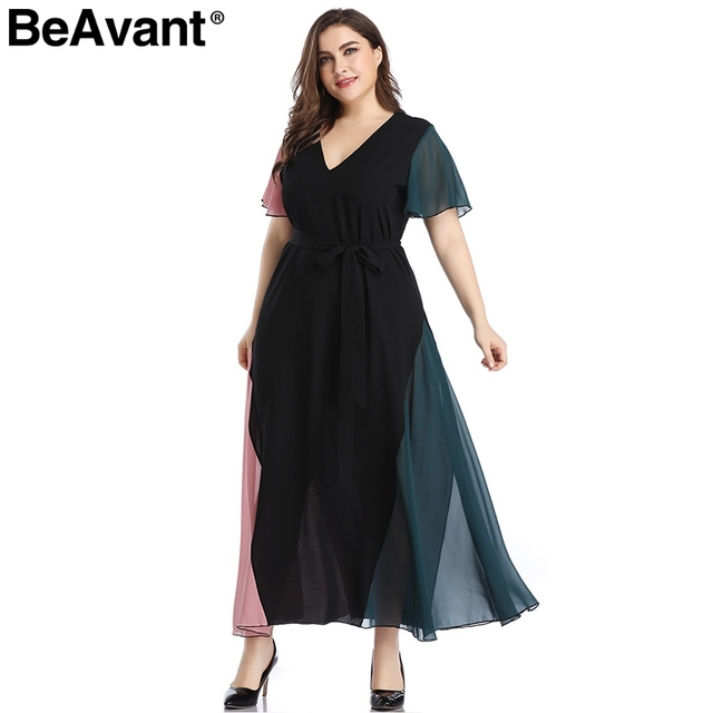 BeAvant Elegant v neck plus size dress women Black butterfly sleeve summer female maxi dress Casual party club ladies dresses 4
