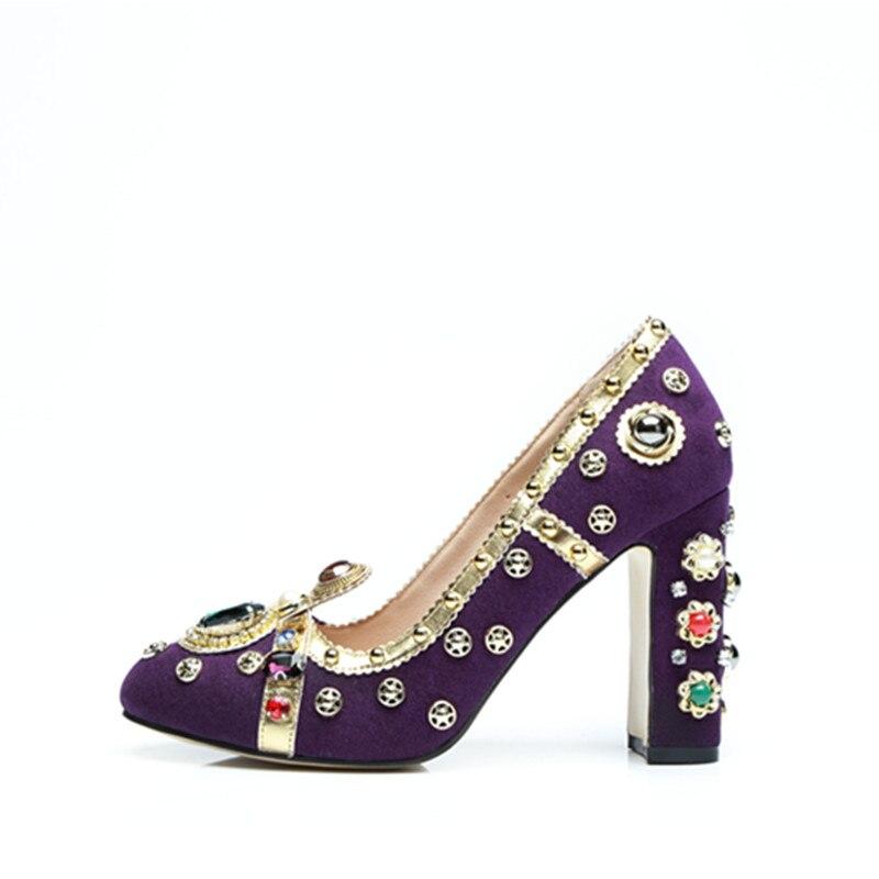 Salu 2018 חדש מותג מעצב נעלי מסלול רויאל סגנון תכשיטי משאבות יוקרה צבעוני אבני חן נשים גבוהה עקבים המפלגה שמלת נעליים