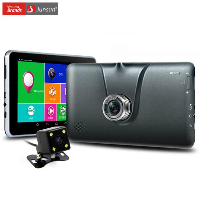 """Junsun 7 """"android navegação gps 1080 p dvr retrovisor do carro da câmera bluetooth wi-fi navitel/europa 16 gb sat veículo navegador gps nav"""