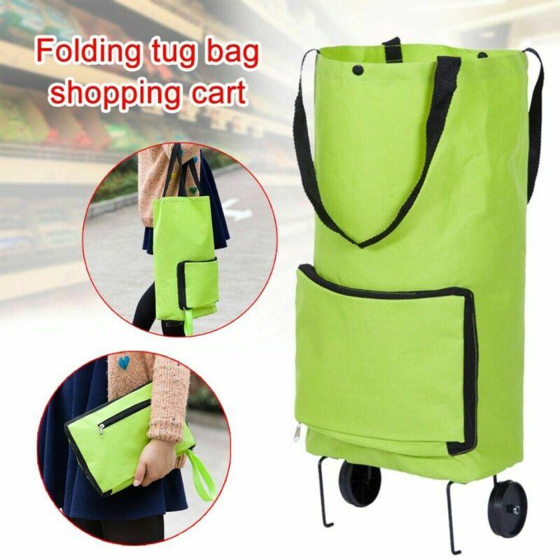 Foldable Trolley Bag Portable Shopping Cart Folding Home Travel Luggage Green Waterproof Organizer Storage Bags