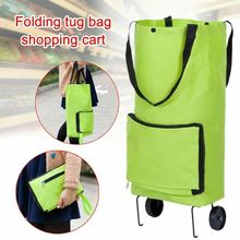 Foldable Trolley Bag Portable Shopping Cart Folding Home Travel Luggage Green Waterproof Organizer Storage Bags