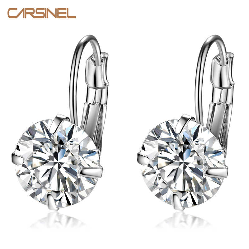 CARSINEL 7 Color Luxury Female Zirconia Hoop Earrings Silver color CZ Crystal Round Earrings For Women Jewelry Wholesale