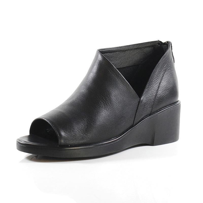 Keil Peep Frauen Cm Faul Echtem Stiefel Schwarz Stiefeletten Leder Schwarzes Toe Sommer 6 High Sandalen Heels Boot Dame Schuhe aaFpqw4x