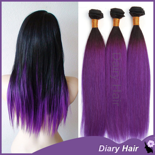1b Purple Ombre Straight Remy Hair Extensions 7a Unprocessed