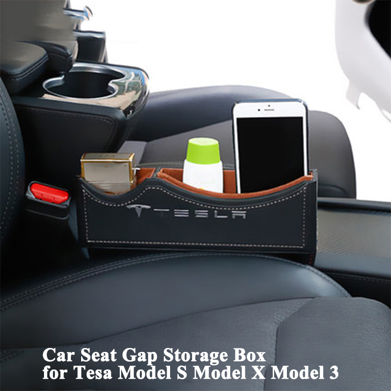 1pc Car Seat Gap Storage Box with Logo Leak-Proof Organizer Phone Holder Car Accessories for Tesla Model S Model X Model 3 2pcs car seat gap pocket catcher organizer leak proof storage bags multifunctional seat gap store content box a8046