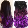 7pcs/set 16 Clips Curly Style Synthetic Hairpiece Black to Purple Ombre Color Clip In Hair Extensions Cosplay Hair Pieces B40