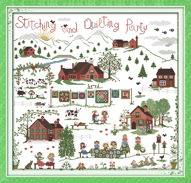 Stitching party., counted printed on fabric DMC 14CT 11CT Cross Stitch kits,embroidery needlework Sets Home Decor
