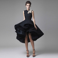 New Chic Prom Dresses Hand Made Flower Unique High Low Short Formal Party Dress Hot Knee Length Sleeveless Hi Lo Cocktail Dress