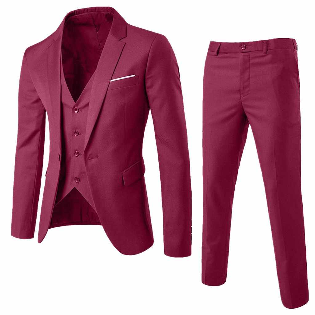 2019 חליפת Mens עסקי חתונה רשמי עסקים יחיד אבזם Slim זכר 3 חתיכה סט טוקסידו בלייזר (מעיל + אפוד + מכנסיים) בתוספת גודל