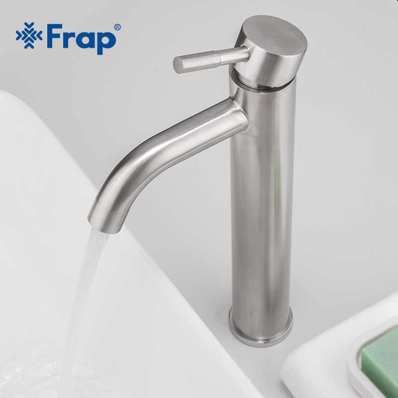 Frap Modern Hot And Cold Water Basin Faucet Deck Mounted Single Lever Bathroom  Mixer Sink Faucet Stainless Steel Tap Y10169-1