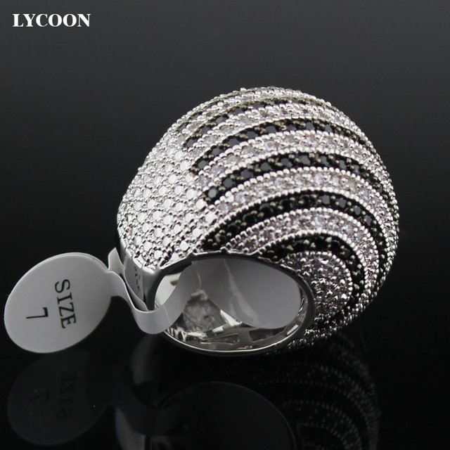 LYCOON ברמה הכי חדש לבן ושחור CZ פס טבעות כסף מצופה גדול טבעות יוקרה נשים מעוקב zirconia טבעת כדור צורה