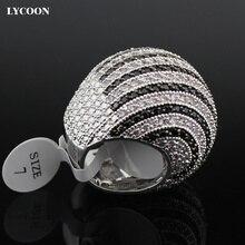 LYCOON Mới Nhất lớp trắng và đen CZ sọc Nhẫn mạ bạc Nhẫn lớn phụ nữ sang trọng đính đá Cubic Zirconia vòng bi hình dáng