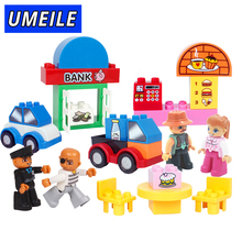 UMEILE 16 Style Original Classic Big Building Block Cowboy Cake City Girl Figure Kids Toys Compatible with Duplo Christmas Gift