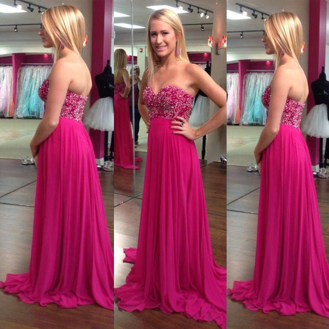 2015 Fuschia Sweetheart Prom Dresses Plus Size Long Chiffon