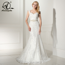 Mermaid Sweetheart Neck Wedding Gowns Bridal Wedding Dress Bride Vestido de noiva With Sashes and Appliques