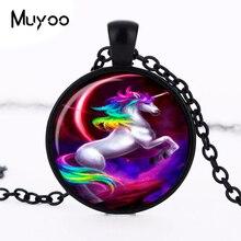 Fashion 27MM Round Unicorn Pendant Unicorn Necklace Unicorn Jewelry Fantasy Style Art Gift HZ1