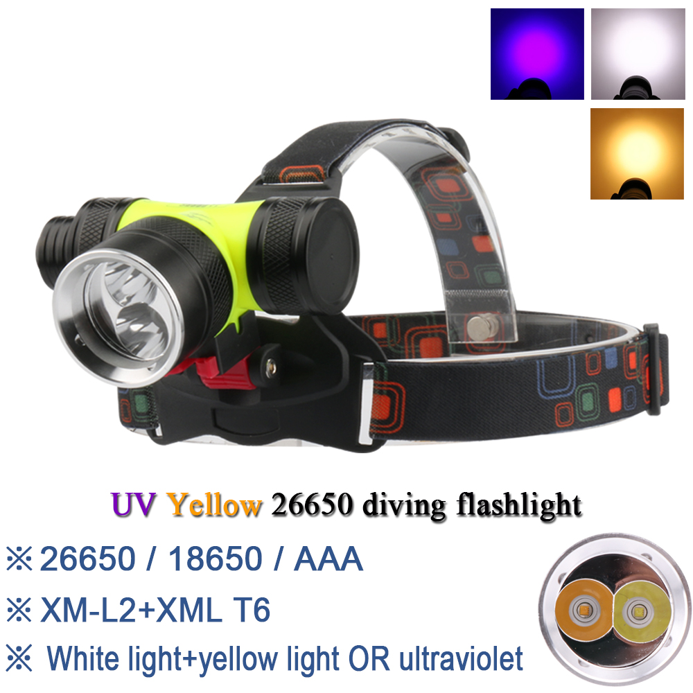 Amiable Yellow White Light Head Lamp Head Torch Dual Light Source Waterproof Led Headlight Diving Cree Xml T6 L2 Headlamp 26650 Or 18650 Be Novel In Design
