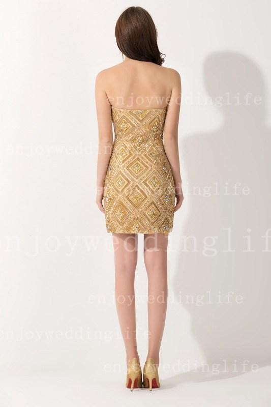 New Sexy Strapless Gold Satin Cocktail Dresses Knee Length Sheath Beaded Rhinestones Party Gowns BZP0406 (5)