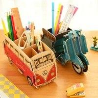 Creative DIY Wooden Pencil Box Case Wooden Desk Desktop Stationery Pencil Box Storage Rack