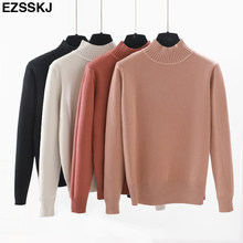 2018 casual loose Sweater Pullover Women Long Sleeve solid Autumn Winter thick sweater Basic female turtleneck Knitted Sweaters(China)