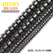 JHNBY Cylinder Black Hematite beads 4/6/8/10MM Natural Stone geometric Flat Round Loose For Jewelry bracelet Making DIY