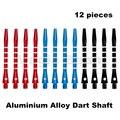 Nueva aleación de aluminio Dardos Ejes, Alu vástago Ejes; 5 rayas diseño; 3 colores Negro Azul Rojo; 12 unidades; 48mm 2BA Hilos