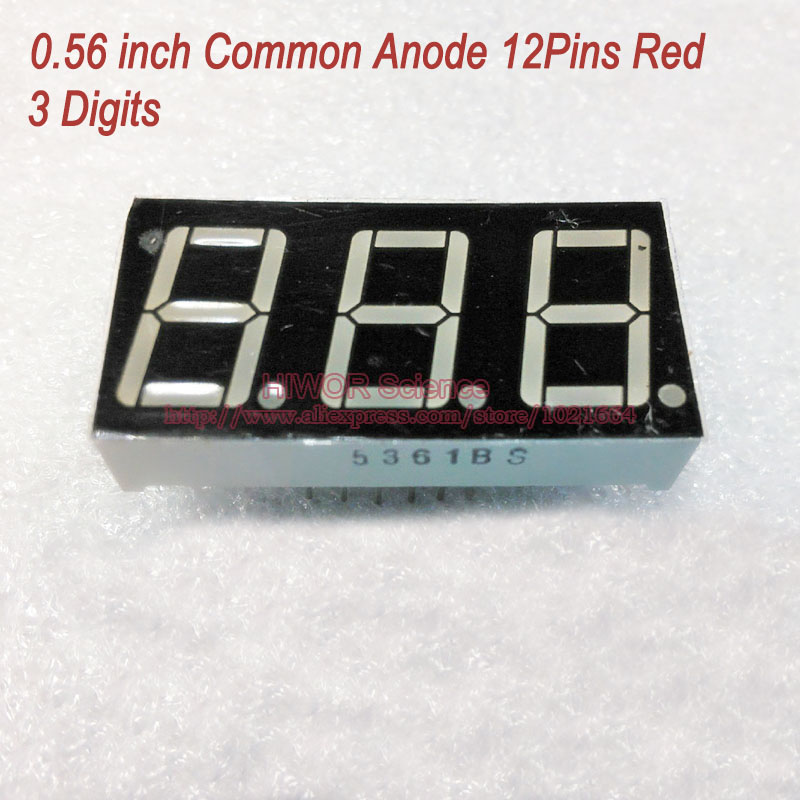(10pcs/lot) LED Display 0.56 Inch 12 Pins 3 Digits Bits 7 Segment Red LED Display Share Common Anode Digital Display 5631BR