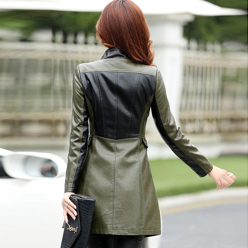 Brand Women's Leather Jacket New 2019 Autumn Vintage Flowers Embroidery Large Lapel Slim Short Black PU Leather Coat Female - 3