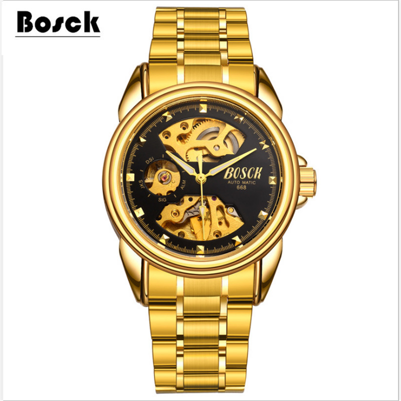 BOSCK waterproof mechanical watches stainless steel casual fashion sports men s watches relojes hombre 2017