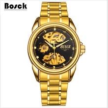 Bosck relojes mecánicos impermeables, de acero inoxidable de moda casual deportes relojes para hombres relojes hombre 2017 relogio masculino