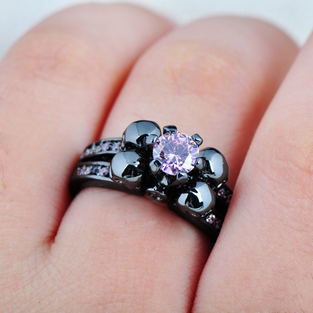 JUNXIN Fashion Female Skull Pink Ring Black Gold Filled Jewelry Top ...