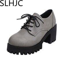 SLHJC Bombas de Las Mujeres de Otoño de Cuero Zapatos de Plataforma Punta Redonda Del Talón Del Cuadrado Hasta Med Zapatos de Tacón Alto 7.5 CM Del Talón