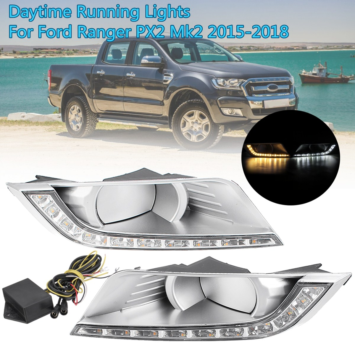 2x LED Daytime Running Lights Daylight turn Signal DRL Lamp car Styling light for Ford Ranger PX Mk2 2015 2016 2017 2018 car styling 2x car light 8led drl fog driving daylight daytime running led for bmw for audi white head lamp 2pcs per set