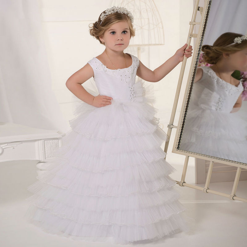 Long Flower Girls Dresses For Wedding Gowns Tulle Glitz Pageant Dresses for Little Girls A-Line Mother Daughter Dresses