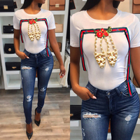 da3bdef5d 2018 Summer New Pearl Shoes T Shirt Women Fashion Diamonds Short Sleeve  Ribbon T Shirt Slim
