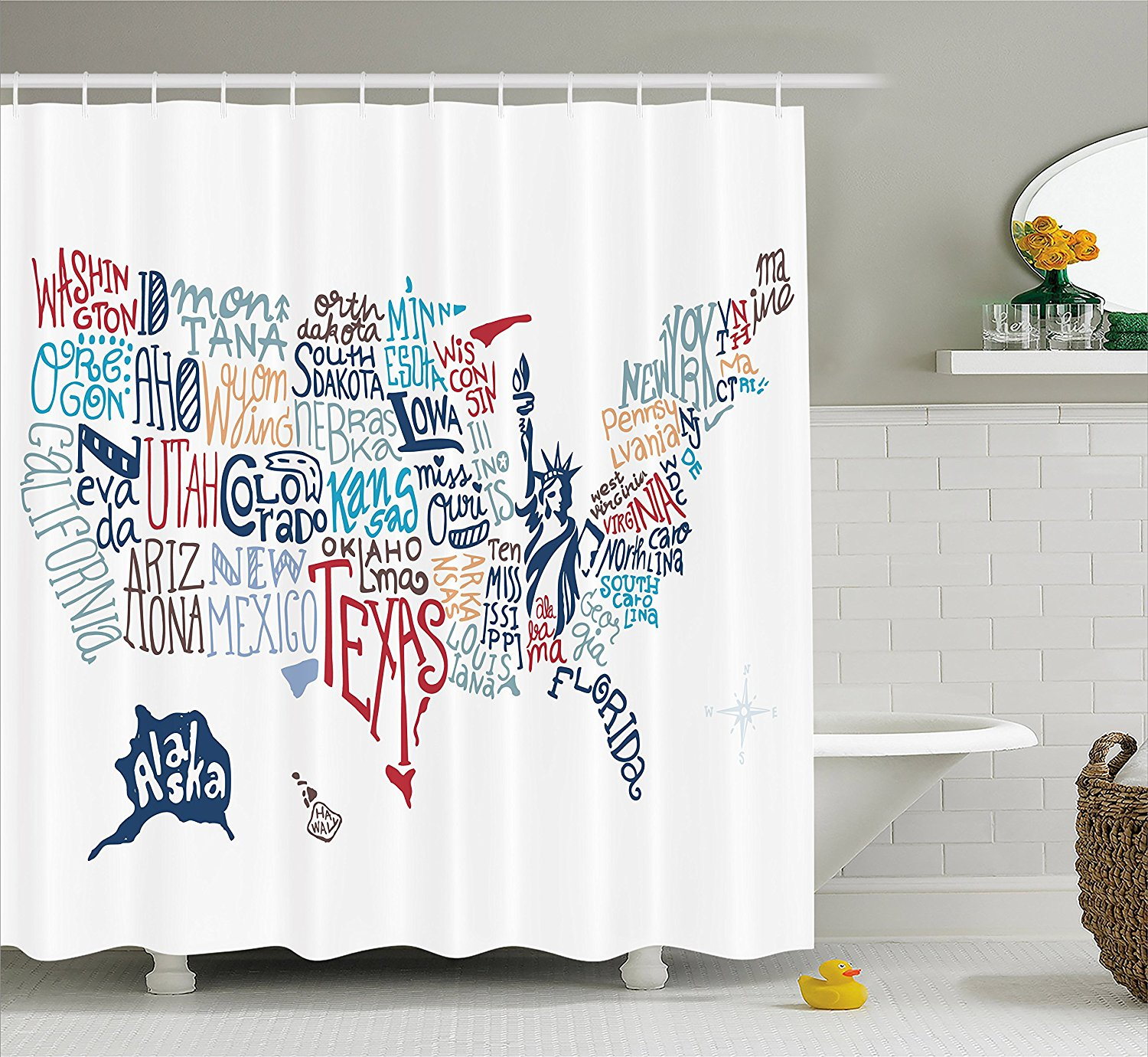USA Map Shower Curtain Culture Tourist Names Of American Town In
